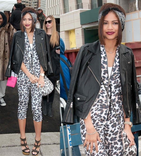 Zendaya Coleman wears an animal print jumpsuit during New York Fashion Week