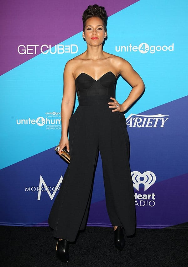 Alicia Keys wearing wide-legged pants at the unite4:humanity gala
