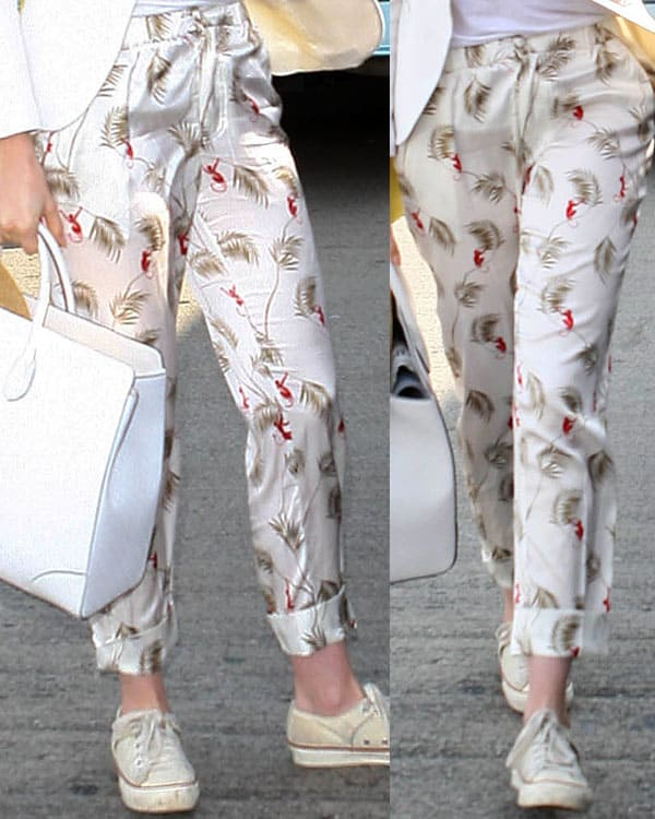 "Anne Hathaway wearing Piamita ""Alexa"" trousers"