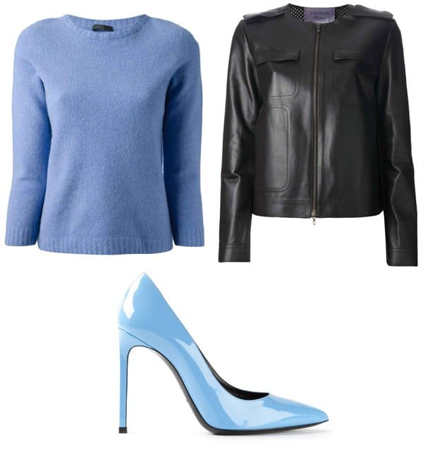 The Row Tisa Sweater / Lanvin Boxy Jacket / Saint Laurent Classic Paris 105 Pump