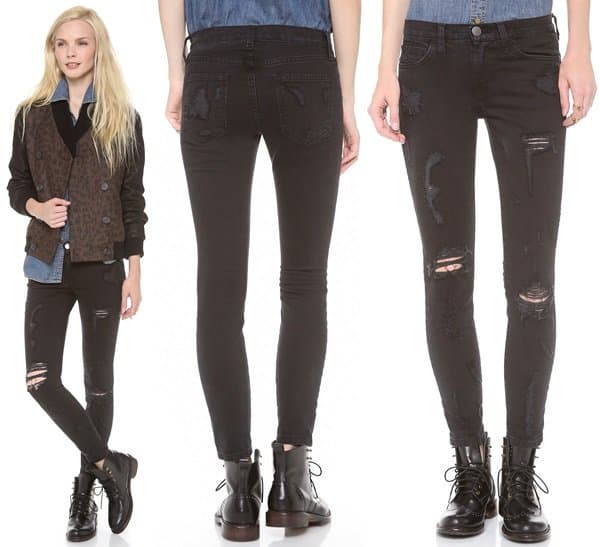 Current/Elliott The Stiletto Jeans in Black Shredded