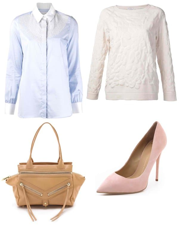Altuzarra Embroidered Shirt / Brunello Cucinelli Textured Sweater / Giuseppe Zanotti Yvette Pumps / Botkier Legacy Small Satchel