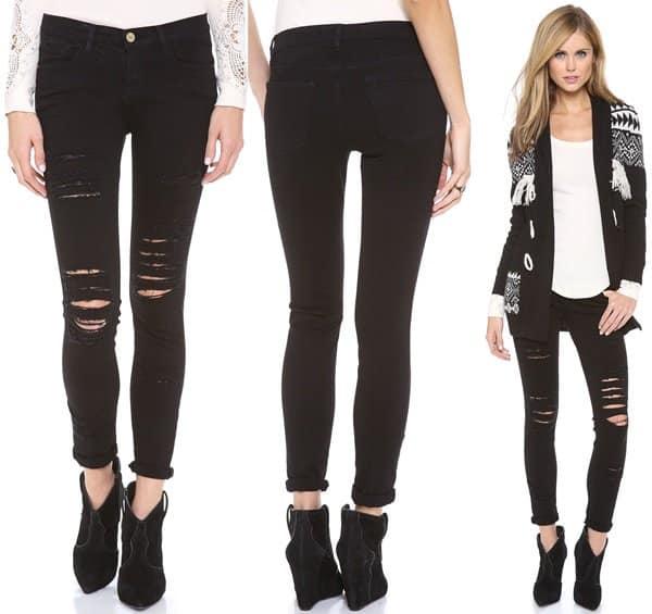 FRAME Denim Le Color Rip Skinny Jeans Black
