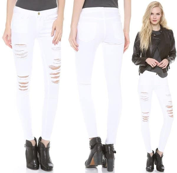 FRAME Denim Le Color Rip Skinny Jeans