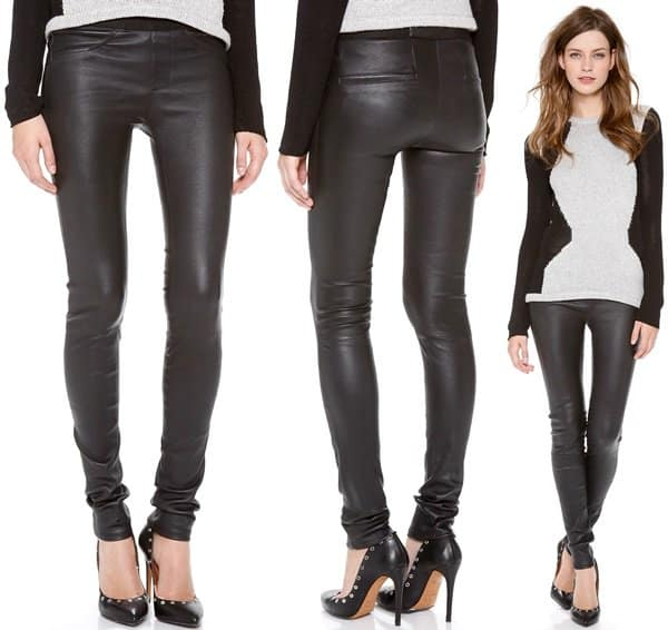 These Helmut Lang skinny pants feature faux front pockets and welt back pockets