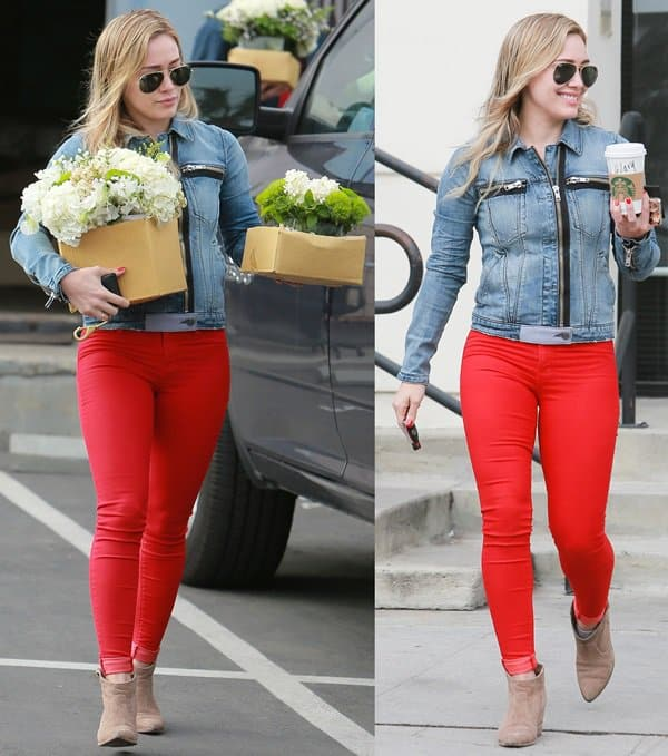Hilary Duff flaunts her legs in red skinny jeans by J Brand