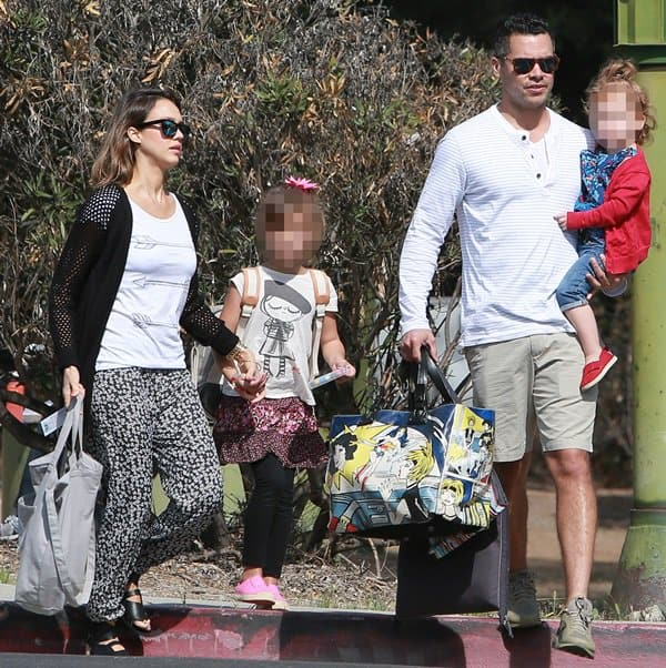 Jessica Alba and husband Cash Warren take daughters Honor and Haven to play at Beverly Hills Park