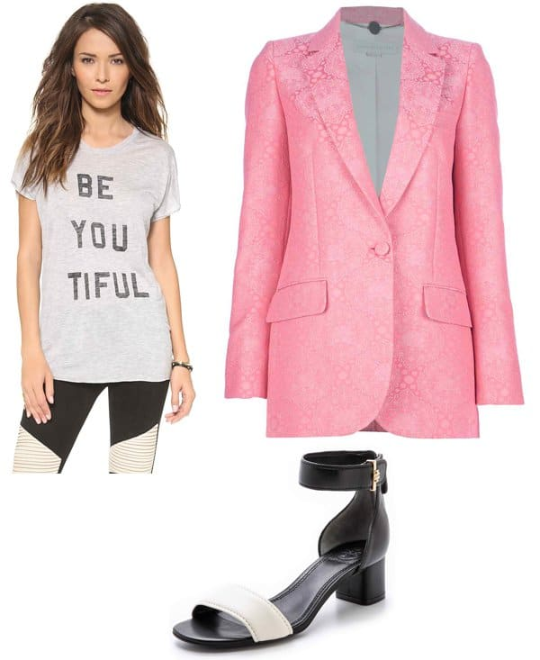 Zoe Karssen Beyouthful Short Sleeve Tee / Stella McCartney Brocade Blazer / Tory Burch Tana Low Heel Sandals