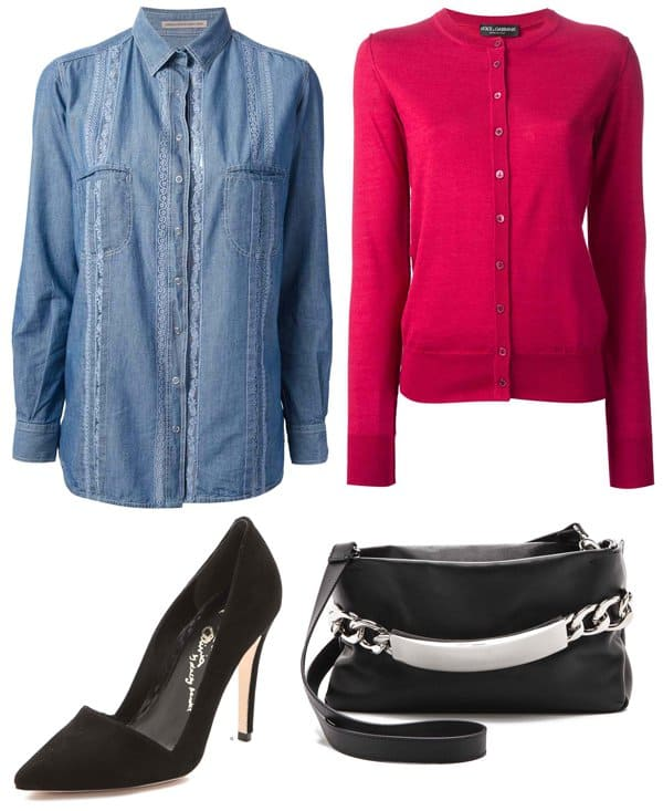 Ermanno Scervino Embroidered Denim Shirt / Dolce & Gabbana Ribbed Detail Cardigan / Alice + Olivia Dina Suede Pumps / Maison Martin Margiela Chain Lock Leather Clutch