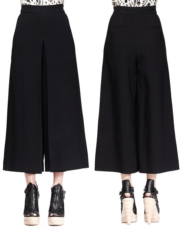 Proenza Schouler High-Waist Cropped Gaucho Pants