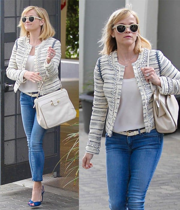 Reese Witherspoon looks classy in jeans while heading to an office in Beverly Hills
