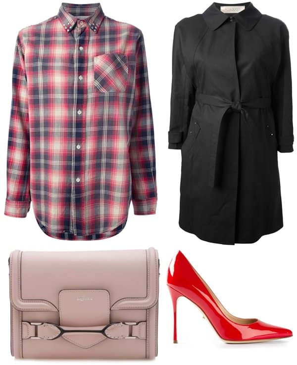 Current/Elliott Studded Plaid Shirt / Sergio Rossi Pointed Pumps / Nina Ricci Belted Coat / Alexander McQueen Heroine Across Body