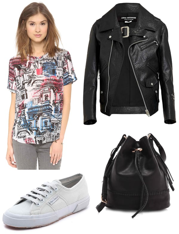 Equipment Riley Tee / Superga Cotu Classic Sneakers / Junya Watanabe Cracked Faux Leather Biker Jacket / Joie Mabel Bucket Bag