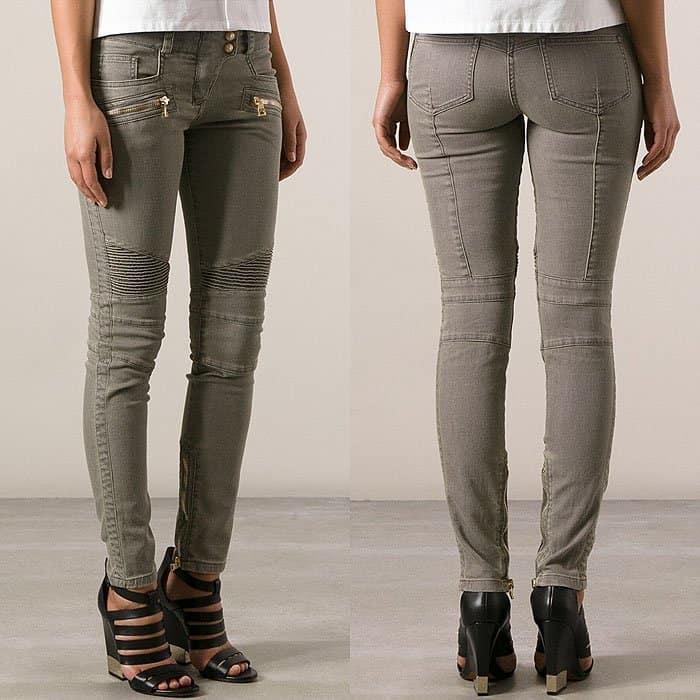 Balmain Gray Zip-Ankle Biker Jeans