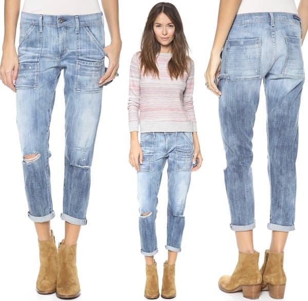 Multiple pocket styles bring a utilitarian edge to cropped boyfriend jeans