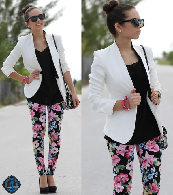 Daniela styled her floral pants with black sunglasses and a blazer