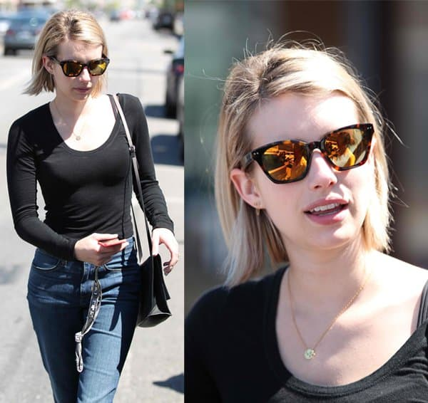 Emma Roberts wears funky sunglasses while shopping at Kate Spade on Third Street in West Hollywood
