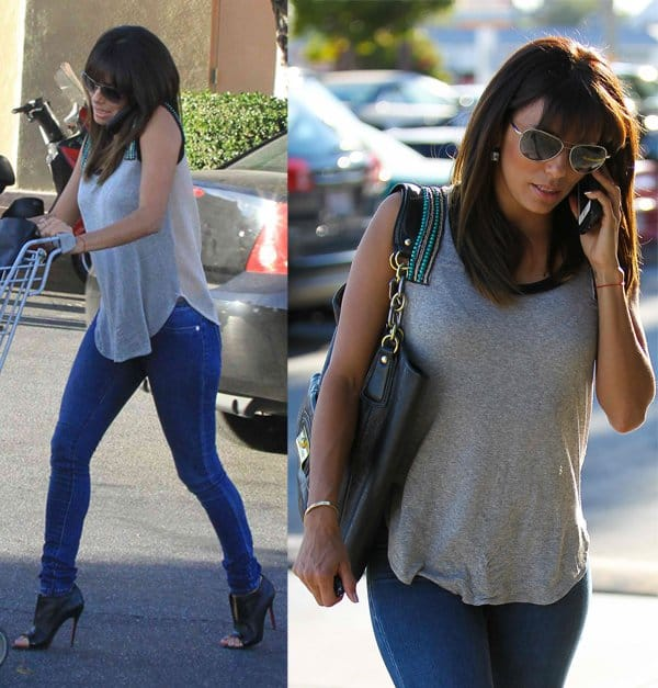 Eva Longoria shopping for groceries in skinny jeans at Ralphs in Hollywood