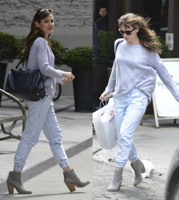 Jennifer Garner styled her pajama jeans with a nondescript grey sweatshirt in New York City
