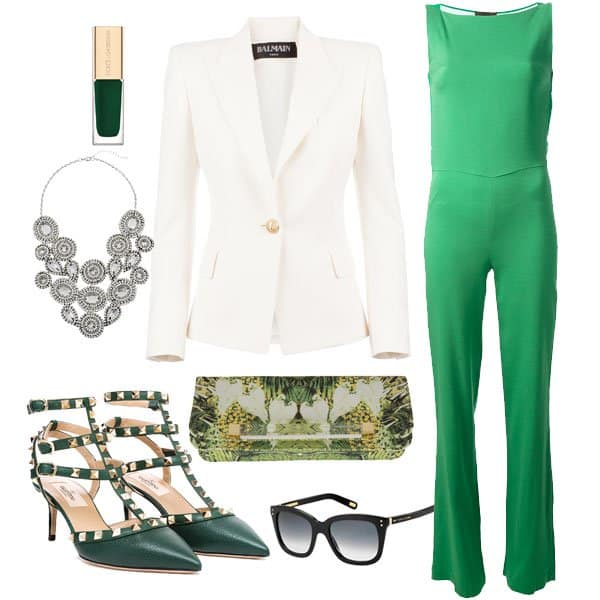 Outfit with green jumpsuit, high heels, blazer, and accessories