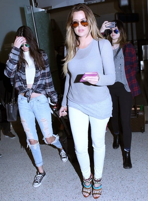 The Kardashian family arrive at LAX