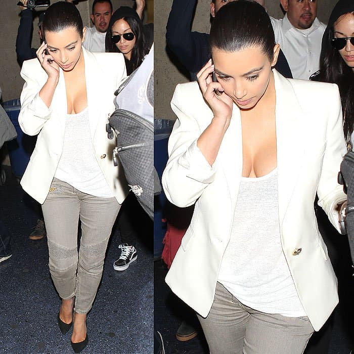Kim Kardashian arriving at the Los Angeles International Airport in Los Angeles, California on April 17, 2014