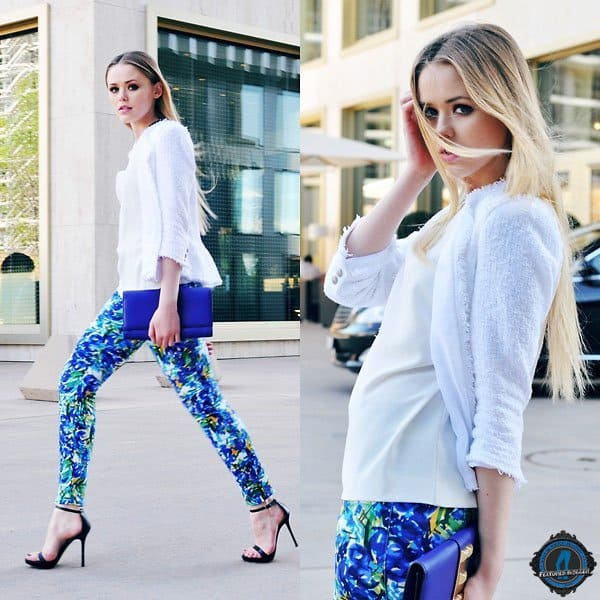 Kristina styled floral pants with a plain top and sexy black heels