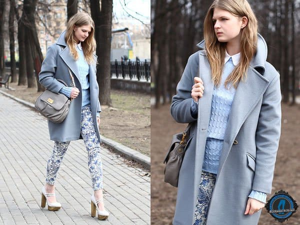 Margarita shows how to mix blue and gray hues with floral pants