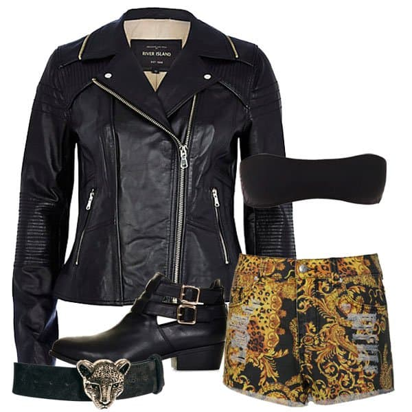 Hot outfit with leather jacket and animal print denim shorts