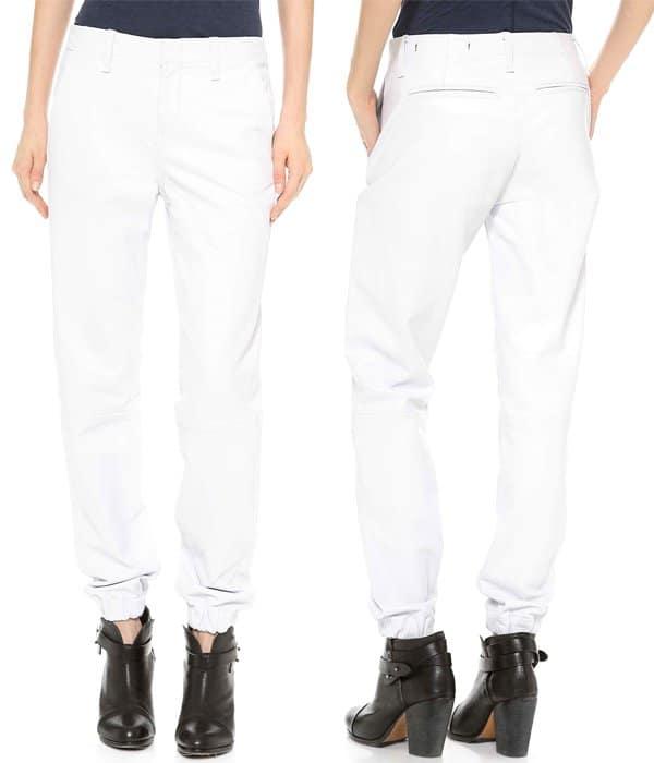 Rag & Bone JEAN The Leather Pajama Pants in White Leather