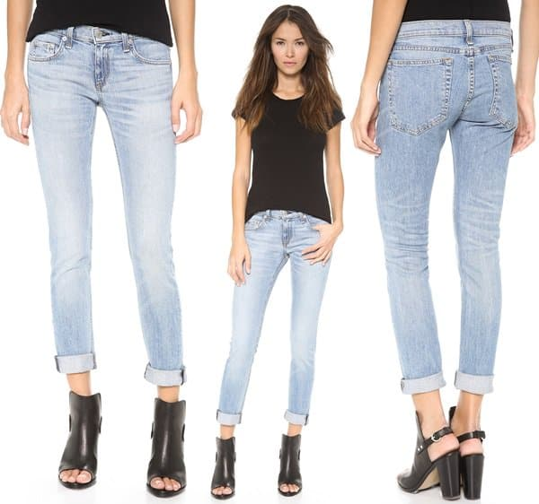 Fading and whiskering add a worn look to slouchy Rag & Bone/JEAN boyfriend jeans
