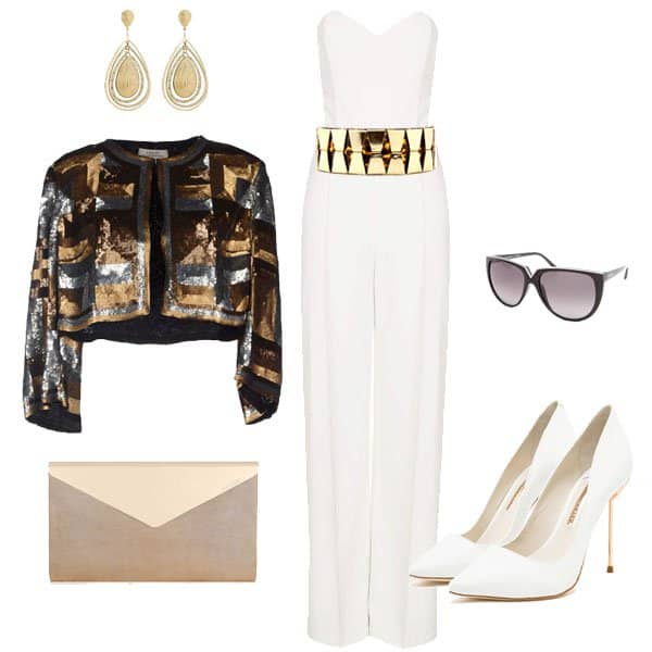Outfit with tailored sweetheart neckline and white high heels