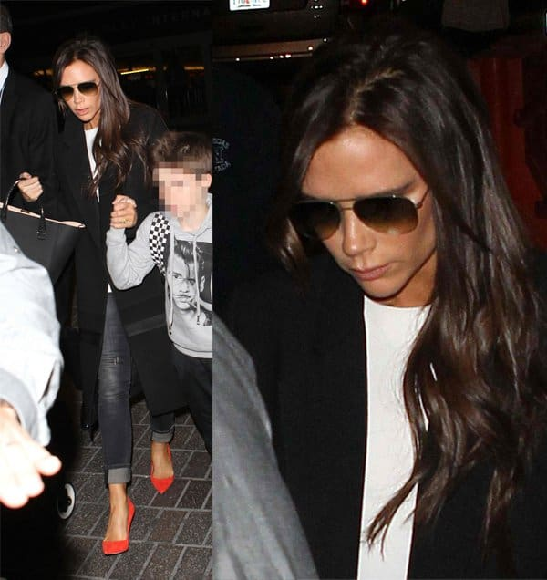 Victoria Beckham with her children at Los Angeles International Airport (LAX) in Los Angeles