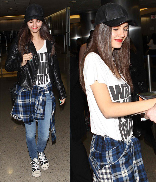 Victoria Justice arrives at Los Angeles International (LAX) airport in Los Angeles on April 25, 2014