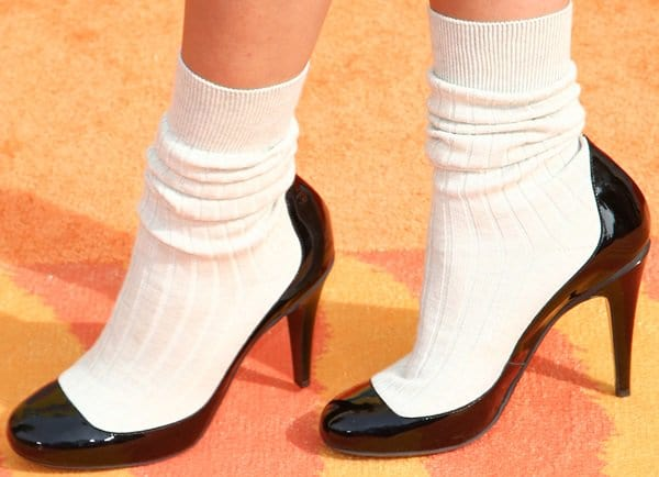 Zendaya's patent leather & cotton sock high boots from Chanel
