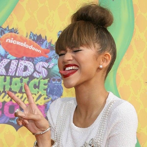 Zendaya shows off her tongue at the Nickelodeon Kids' Choice Awards