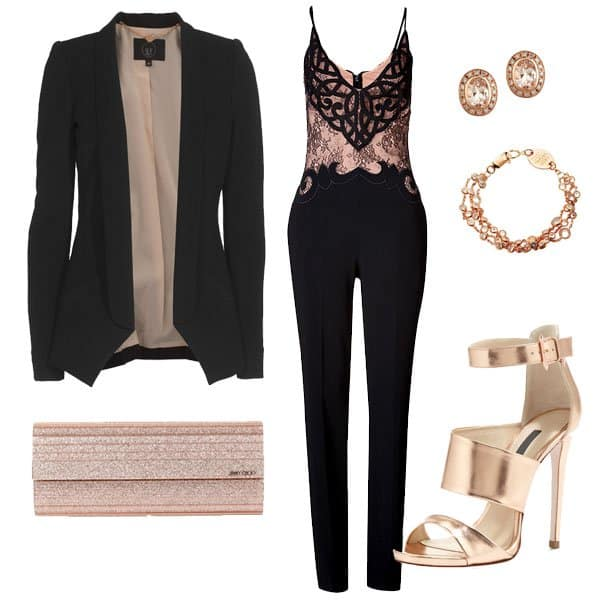 Outfit with black combination lace jumpsuit and gold metallic high heels