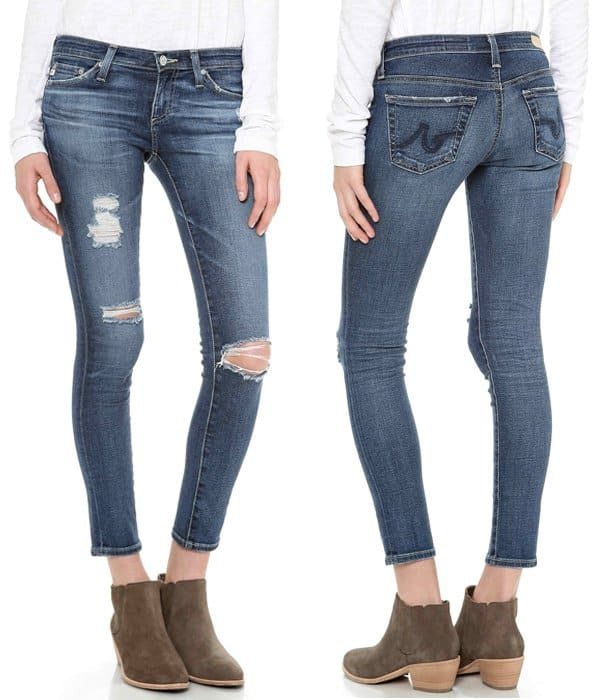 These distressed AG Adriano Goldschmied skinny jeans have a legging-tight fit
