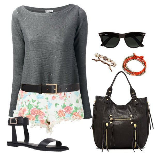 Memorial Day outfit with sheer knit sweater and flat black sandals