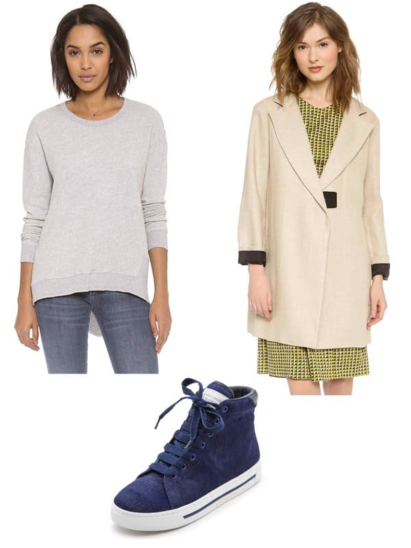 Wilt Basic Big Back Slant Sweatshirt / Carven Linen Coat / Marc by Marc Jacobs Haircalf High Top Sneakers