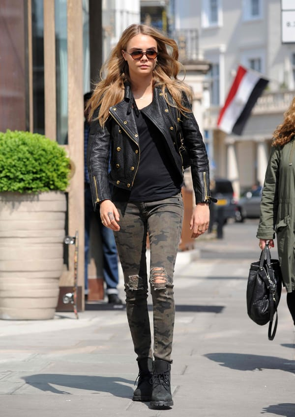 Cara Delevingne Shows Rumored Baby Bump in Hudson Camo