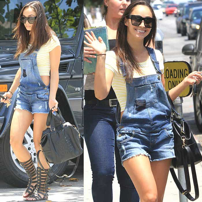 Cara Santana shows how not to wear short overalls while out shopping for a tropical plant