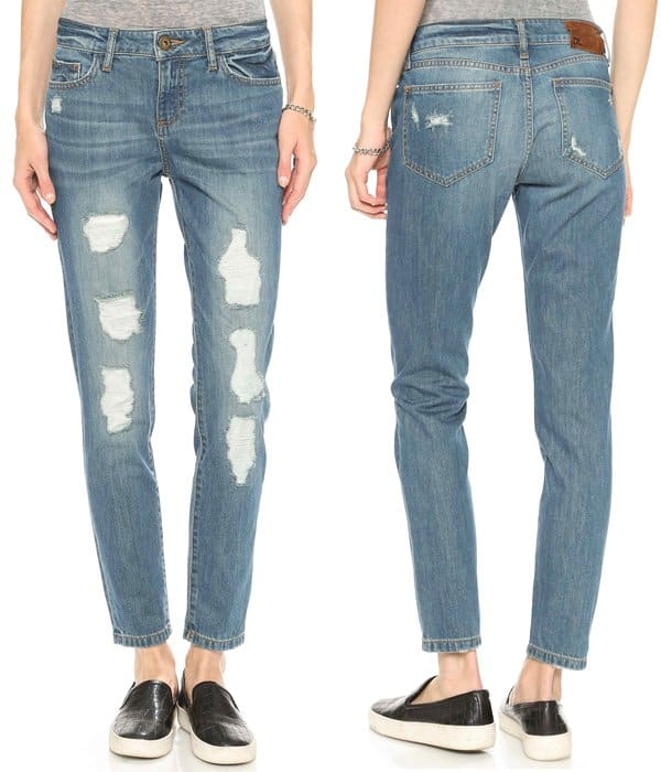 Muslin-backed holes give these slouchy-slim DL1961 jeans a distressed feel