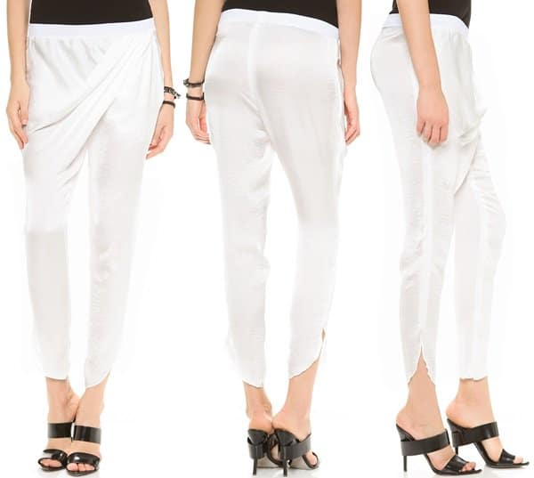Faith Connexion Draped Pants in White