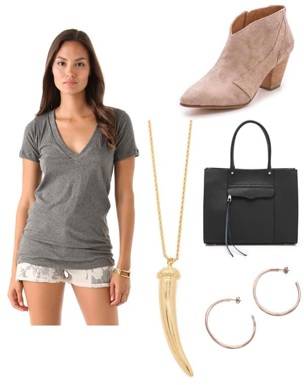 LNA Deep V Tee / Belle by Sigerson Morrison Yoko Booties / Rebecca Minkoff Medium MAB Tote / Kenneth Jay Lane Horn Necklace / Gorjana Arc Hoop Earrings