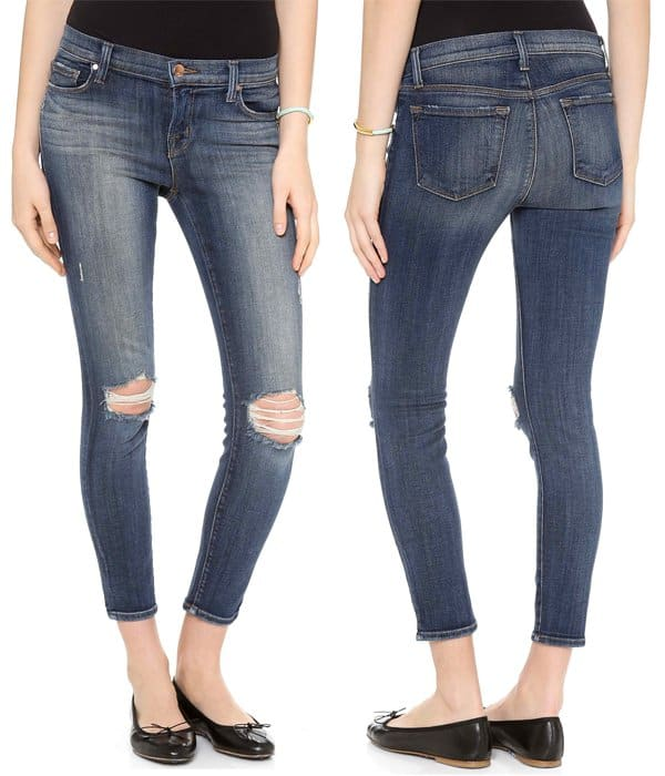 Matching ripped knees give these J Brand skinny jeans a deconstructed, yet symmetrical look