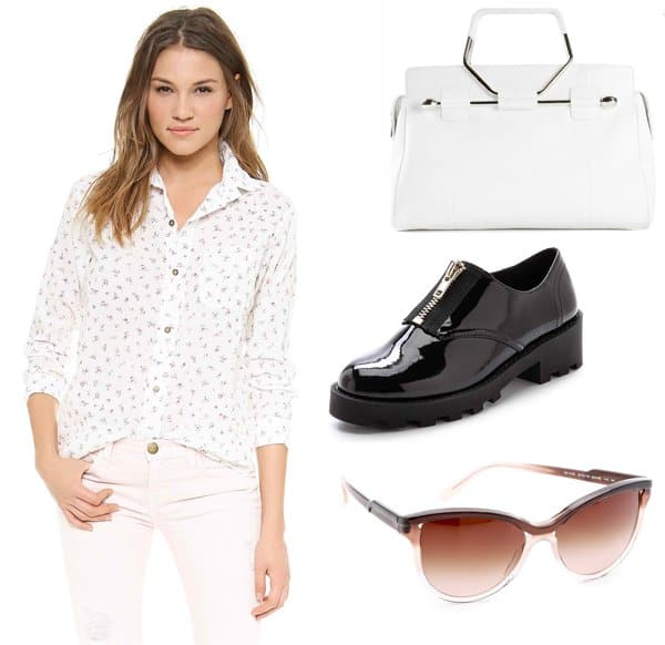 Current/Elliott The Prep School Button Down / Cheap Monday Go Tractor Oxfords / Viktor & Rolf Structured Tote / Stella McCartney Cat-Eye Sunglasses