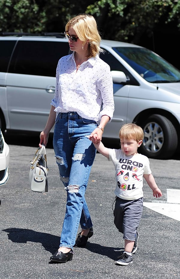 January Jones takes son Xander to lunch at Houston's restaurant before grocery shopping in Pasadena in Los Angeles on April 7, 2014