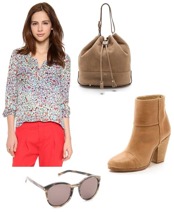 Parker Marissa Blouse / Rag & Bone Classic Newbury Booties / A.P.C. Bucket Bag / Saint Laurent Classic Preppy Round Sunglasses