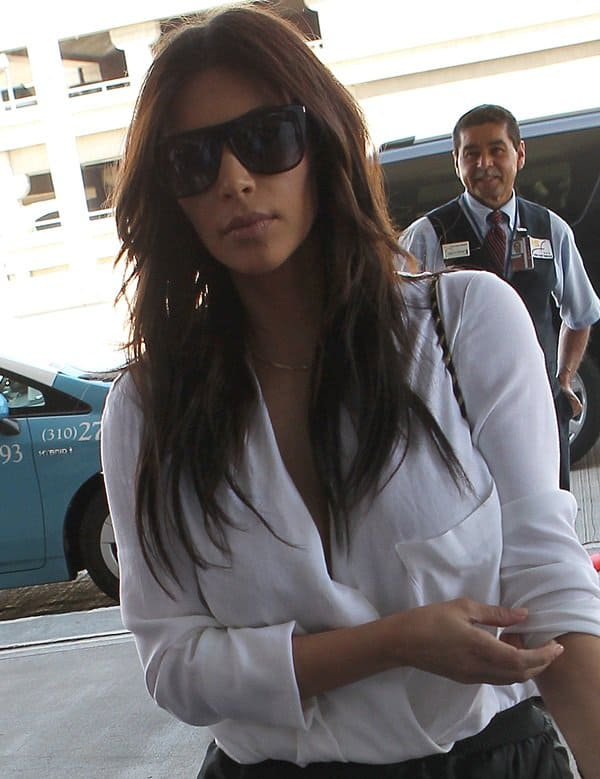 Kim Kardashian arriving at LAX